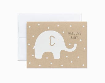 Welcome baby card | New baby card | Baby shower card | Baby elephant card | GCC11