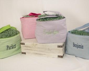 Monogrammed Easter Basket | Easter Basket | Seersucker Easter Basket | Personalized Easter Bucket | Easter Egg Basket | Seersucker Basket