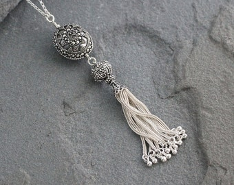 Sterling Silver Tassel Necklace on Long Chain, Bali Beads, Turkish Silver, Tassel Pendant