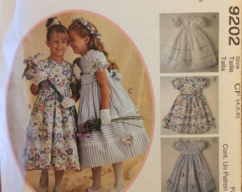 OOP 9202 McCalls (1998). Kitty Benton Gourmet Sewing.  Girls' Dress. Complete, FF.  Sizes 3-4-5 and 4-5-6 and 6-7-8.  FF. Ex Cond.