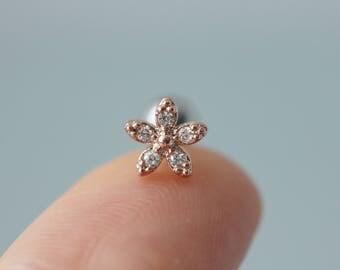 Flower cartilage piercing, helix earring, cartilage earring, conch piercing, 16g 18g conch earring, 20g cartilage earring, helix labret