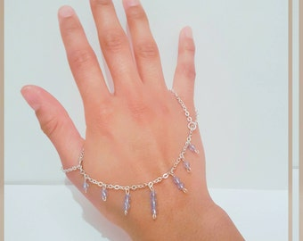 Double finger ring chain bracelet, Thumb connected to small finger slave bracelet, Hand dangling bead chain gift, Silver plated hand harness