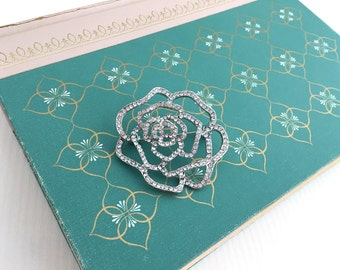 Flower Rhinestone Brooch.Flower Crystal Brooch.Rhinestone Brooch.Crystal Brooch.Vintage Style.Wedding accessory.Bridal.Camellia.Broach