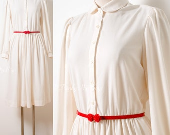 Vintage 60s Dress, Vintage Ivory Dress, Mad Men Dress, Vintage cream Dress, 60s ivory Dress, 60s Knit Dress, Vintage Henry Lee dress - M