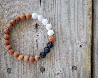 Essential oil diffuser bracelet yoga bracelet mala beads meditation bracelet  yoga jewelry howlite red aventurine lava beads sandalwood