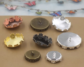 50 Button Base Brass Antique Bronzed 12mm/ 15mm/ 20mm/ 25mm Round Crown Edged Bezel Cup W/ Ring Wholesale Bezel Buttons- Z7136a