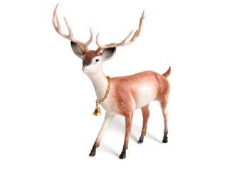 Reindeer, Vintage Plastic Buck Figurine, 10 Point Buck Figure, Christmas Decor, Vintage Deer