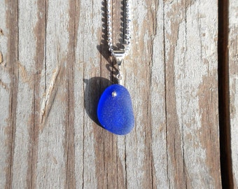 Genuine Beach Sea Glass Sterling Silver Pendant - Cobalt