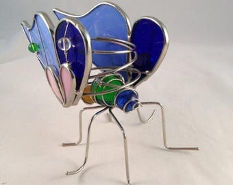ON SALE Stained Glass Butterfly Stained Glass Candle Holder