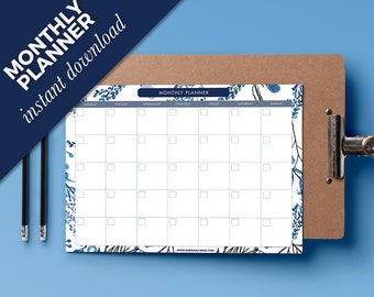 Monthly Planner 2017 - Printable schedule - Monthly printable A4 academic planner - Print at home daily planner - student monthly schedule
