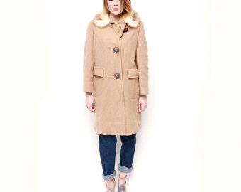 1960s Vintage Beige Wool Jacket / Beige Fur Jacket SMALL