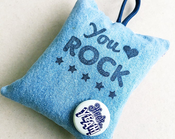 You rock - hand printed lavender bag (hand drawn typographic pattern)