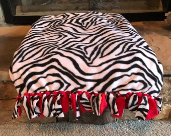 Red White and Black Zebra Print Blanket READY TO SHIP Fringed Fleece Throw, Fleece Blanket, Tied Blanket Pink Black and White Tiger Throw
