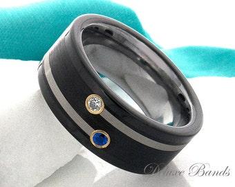 tungsten ring sapphire diamond tungsten wedding band black anniversary ring mens wedding ring 9mm engagement ring - Tungsten Wedding Ring