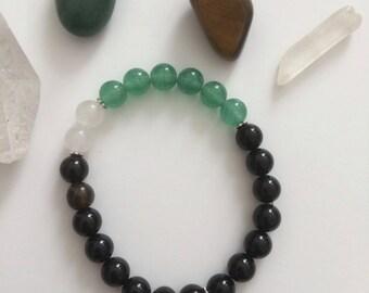 Green Jade and Black Onyx - 8mm Semi Precious Stones Bracelet with Pineapple Charm