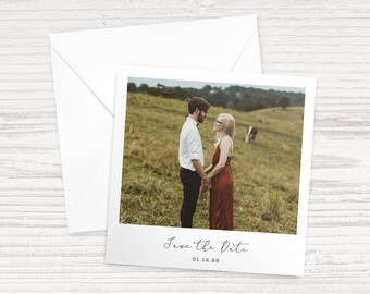 009 - 'Instant-Style Photo' Save the Date Cards with Envelopes - A6 Square - Customisable (Wedding, Engagement, Baby Shower)