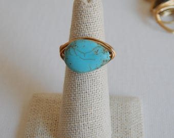 Gold wire wrapped turquoise teardrop shape ring, boho style, everyday ring, festival chic jewelry, neutral, trendy jewelry, summer jewelry