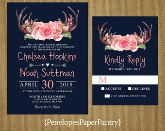 Rustic Navy Antler Summer Wedding Invitation,Navy,Ballet Pink,Floral Antlers,Blush Roses,Arrow,Heart,Romantic,Printed Invitation,Wedding Set