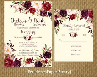 Romantic Rustic Fall Wedding Invitation,Ivory,Burgundy,Marsala,Blush,Plum,Roses,Floral Arrow,Printed Invitation,Wedding Set,Ivory Envelopes