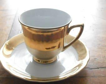 gold lustre demitasse cup and saucers vintage porcelain teaware