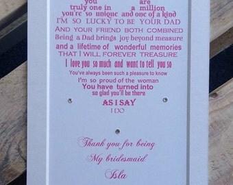 Flower girl gift, daughter bridesmaid gift, thank you for being our bridesmaid, daughter thank you gift, wedding gift