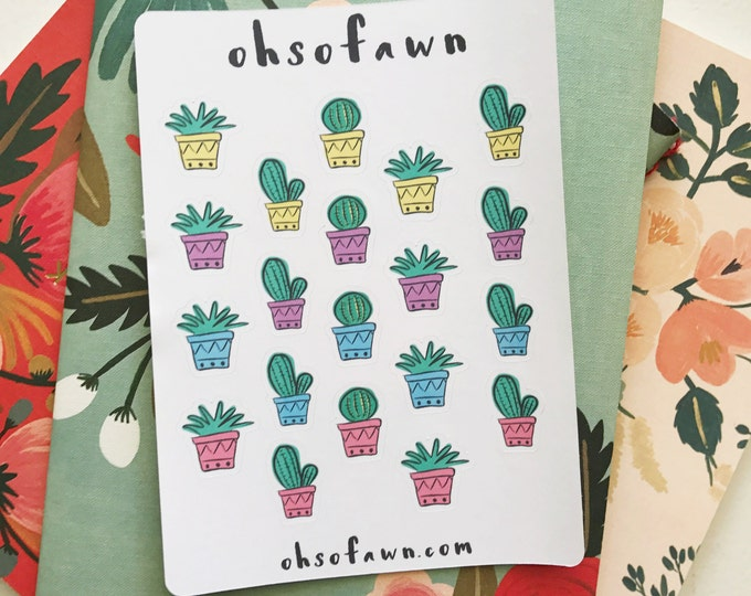 Hand Drawn Cactus Stickers