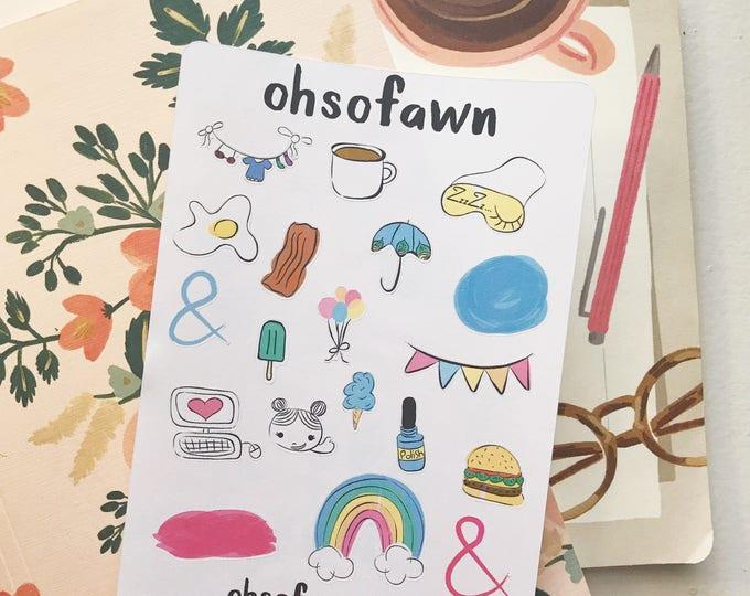 Hand Drawn Planner Sticker Sampler .01