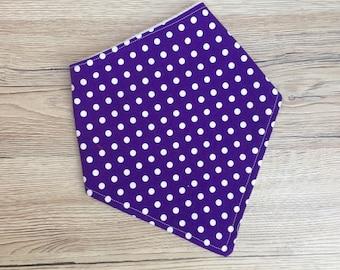 Baby Dribble Bib, Toddler Bib, Purple with White Spots, Baby Gift,  Baby Shower, New Baby, Christmas Stocking Filler, Handmade in the UK