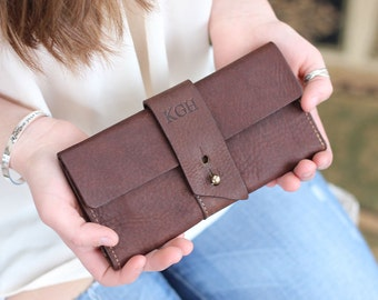 Personalized The Kelsey Pocketbook Wallet Fine Leather Womens Ladies Long Large checkbook Cover