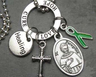 Lymphoma Cancer Healing Patron St. Peregrine Catholic Holy Medal & Green Ribbon Charm Necklace, Catholic Gift Jewelry