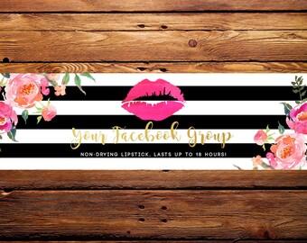 LipSense Facebook Banner Header // Custom Striped Pink Watercolor Florals