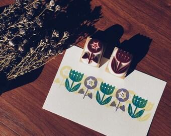 Flower hand carved rubber stamps. garden stamp.spring crafts.spring stamp.
