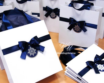 Christmas Gift Bags for guests with Navy Blue satin ribbon, bow and snowflake tag  Elegant Welcome Paper Bags - Holiday Gift Favors Wrapping