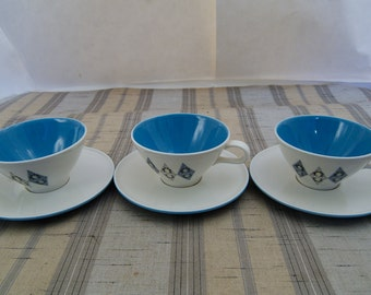 3 Vintage Mid Century Informal True China Iroquois Blue Diamond Tea Cup & Saucer Sets Ben Seibel