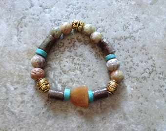 More sticks and stones, wood bead combined with stones and gold accents