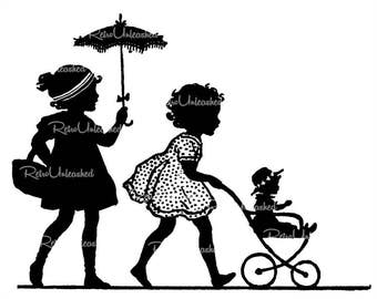 "1920's Silhouette Image 5.5"" x 7"" ~ Adorable Little Girls w/Doll Carriage & Parasol ~ Digital Download for Crafts / Scrapbooking ~ So Cute!"
