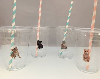 Cute Kitten Party Cups with Lids and Straws, Plastic Cat Party Drink Cups with straws