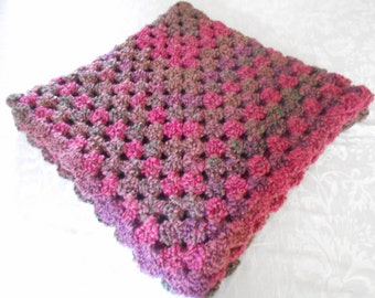 """Hand Crocheted Throw, Blanket 38"""" By 38"""" Square Pink, Purple, and Green Homespun Thick And Quick"""