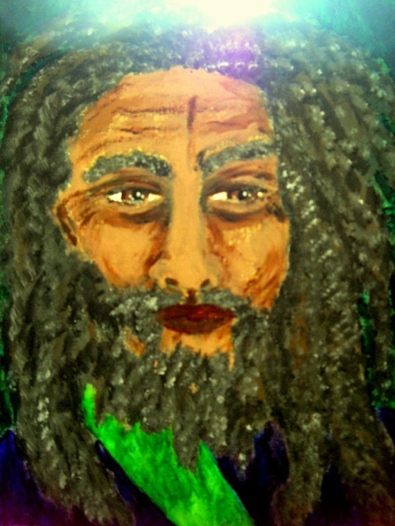 NAHIR, Acrylic and Ink Painting Black Folk Art, painting of a man, by Artist Stacey Torres, artist