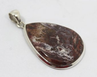 """Crazy Lace Agate Pendant 2.5"""" Long 97.5Ct 925 Solid Sterling Silver Natural Gemstone P-97"""