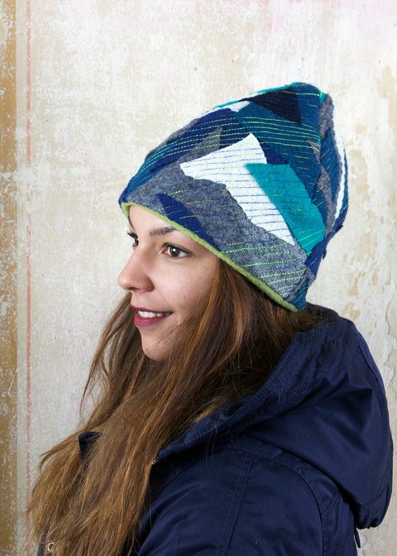 upcycling fulled loden beanie iPatch