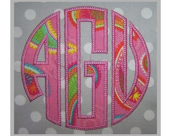 "Circle Applique Monogram Set - 3"" 3.5"" 4"" - Left Center Right - Machine Embroidery Fonts Circle Monogram Embroidery Font - Instant Download"