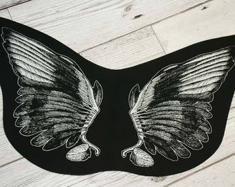Wings back patch - punk back patch, nu goth patch, occult patch pagan patch, screen print patch, witchy clothing, angel wings, devil wings