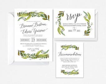 Greenery Wedding Invitation Suite, Green Wreath Wedding Invite, Nature Leaves Invite, Greenery, Boho Invite, Printable Garden Wedding