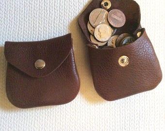 tiny coin purse, small coin purse, brown coin purse, leather coin purse, coin pouch,money purse,genuine leather,coin, leather coin bag,brown