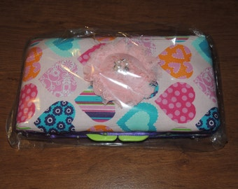Baby Girl Hearts Baby Wipe Case