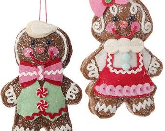 "Raz Imports 6.5"" GINGERBREAD COUPLE/Wreath Supplies/Christmas Decor/3420007"