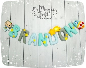 Space nursery name Astronaut banner felt Baby name bunting Personalized name banner Baby boy nursery name banner Personalized garland