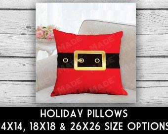 HOLIDAY Santa Belt Double-Sided Pillow, CHRISTMAS, Ho Ho Ho, Merry Christmas, Home Decor, Seasons, Decorative Pillows, Pillows