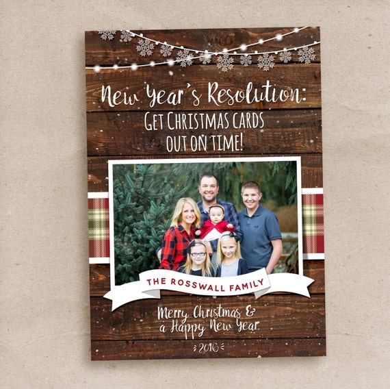 Rustic Christmas card, Late Christmas card, Holiday Christmas card, New Years resolution card